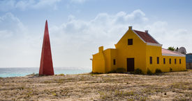 stock photo of slave-house  - Slave huts at the salt mines in Bonaire - JPG