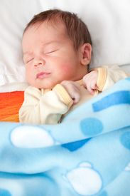 foto of sleeping baby  - New born baby sleeping in bed  - JPG