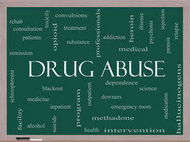 stock photo of methadone  - Drug Abuse Word Cloud Concept on a Blackboard with great terms such as addiction heroin disease relapse and more - JPG