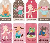 picture of parti poodle  - cartoon animal tea time card