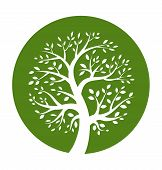 image of ethereal  - Green tree round icon - JPG