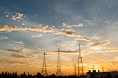 foto of electric station  - The Electric power station on a sunset background
