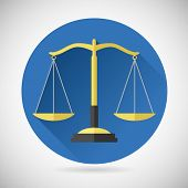 picture of symbol justice  - Law Balance  Symbol Justice scales Icon on Stylish Background Modern Flat Design Vector Illustration - JPG
