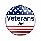 stock photo of veterans  - Veterans Day Button A white button red stripes and stars with words Veterans Day isolated on a white background - JPG