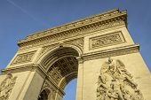 picture of charles de gaulle  - Arc de Triomphe at sunset in Paris France - JPG