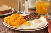 pic of hash  - Cheese hash browns with link sausage and fried eggs - JPG
