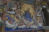 stock photo of mural  - Mural painting by entrance in the church in Rila monastery - JPG