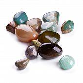 image of calcite  - Semiprecious coloured stones isolated on white background - JPG