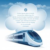 pic of passenger train  - Passenger high speed train moving under the blue sky and white clouds - JPG