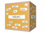 foto of rn  - Nursing 3D cube Corkboard Word Concept with great terms such as skilled caring health and more - JPG
