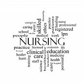 picture of rn  - Nursing Word Cloud Concept in black and white with great terms such as licensed skills caring and more - JPG
