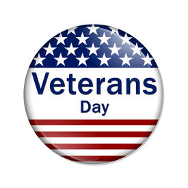 image of veterans  - Veterans Day Button A white button red stripes and stars with words Veterans Day isolated on a white background - JPG