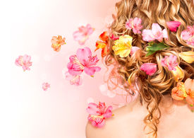 pic of perm  - Hairstyle with colorful flowers - JPG