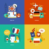 stock photo of pronunciation  - Set of flat design concept icons for foreign languages - JPG