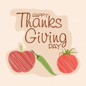 picture of indian apple  - Happy Thanksgiving Day celebrations greeting card design with tomato - JPG