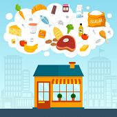 foto of grocery store  - Grocery store concept with shop supermarket building front and food icons set vector illustration - JPG