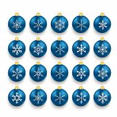 foto of x-files  - Christmas blue baubles set with snowflakes on the white background - JPG