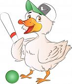 foto of ball cap  - Duck Baseball Player with Cap Bat and Ball vector illustration - JPG