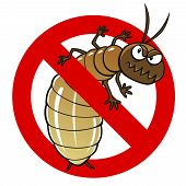 pic of anti  - Anti pest sign with a funny cartoon termite - JPG