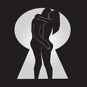 picture of voyeur  - A Naked Couple Hugging Behind a Locked Door - JPG