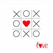 image of tic  - Tic tac toe game with cross and heart sign mark in the center Love card Flat design Vector illustration - JPG