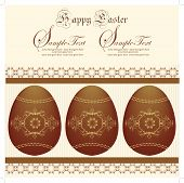 image of risen  - Vintage easter invitation card with ornate elegant abstract floral design brown eggs on yellow - JPG