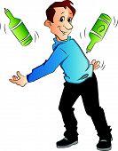 image of juggling  - Vector illustration of confident young man juggling bottles on white background - JPG