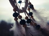 pic of dreamcatcher  - Wooden Dreamcatcher with feathers and beads  - JPG
