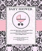 stock photo of fancy cake  - Vintage baby shower invitation card with ornate elegant abstract floral design black on pink with baby carriage on cake - JPG