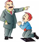 stock photo of begging  - Vector illustration of junior executive begging for work in front of his boss - JPG