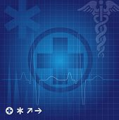 image of lifeline  - Medical symbols in blue grid vector illustration - JPG