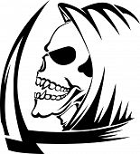 picture of scythe  - Tattoo design of a grim reaper with scythe vintage engraved illustration - JPG
