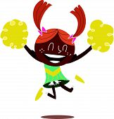 stock photo of ponytail  - Young illustration of a black smiling cheerleader jumping and cheering with two ponytails - JPG
