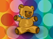 stock photo of kiddie  - Teddy Bear with blue ribbon circles background vector illustration - JPG
