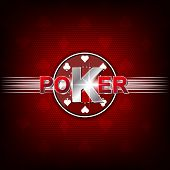 stock photo of gambler  - Poker illustration on a red background with card symbol and chip - JPG