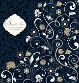 picture of royal botanic gardens  - Vintage invitation card with ornate elegant retro abstract floral design gray and white flowers and leaves on midnight blue background - JPG