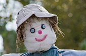 pic of scarecrow  - Scarecrow with grey hat and blue eyes - JPG