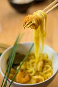 picture of lo mein  - chinese stir fried noodles on white plate - JPG