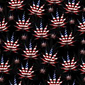 stock photo of marijuana leaf  - Marijuana Leaf with the colors of American flag Marijuana Leaf Pattern Repeat Background that is seamless and repeats - JPG