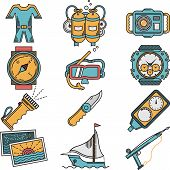 stock photo of nautical equipment  - Flat color design icons vector collection for scuba diving equipment and objects on white background - JPG