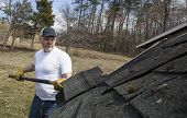 foto of shingles  - Man taking shingles off a shed roof - JPG