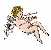 foto of cupid  - Illustration of cupid isolated on white with flute - JPG