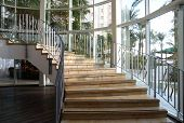 picture of spiral staircase  - Spiral staircase in the big modern hotel - JPG