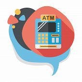 foto of cash register  - Shopping Cash Register Flat Icon With Long Shadow - JPG