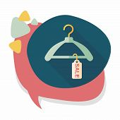 stock photo of clothes hanger  - Shopping Clothes Hanger Flat Icon With Long Shadow - JPG