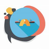 stock photo of seesaw  - Playground Seesaw Flat Icon With Long Shadow - JPG