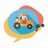 image of excavator  - Transportation Excavator Flat Icon With Long Shadow - JPG