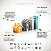 stock photo of real  - Vector illustration of 3d futuristic real estate infographic made of houses - JPG