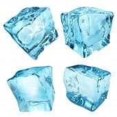 pic of ice cube  - Set of four opaque ice cubes in light blue colors - JPG