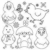 image of chase  - Easter cartoon chicken line art set - JPG